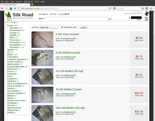 Some popular Silk Road offerings - screenshot by Whatsblem the Pro