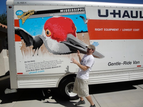 "The missing truck bears this design, #107 in U-Haul's ""Venture Across America"" series"