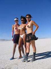 Nude gals in girdles