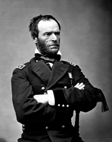 General Sherman, the rigors of Hell etched into his face