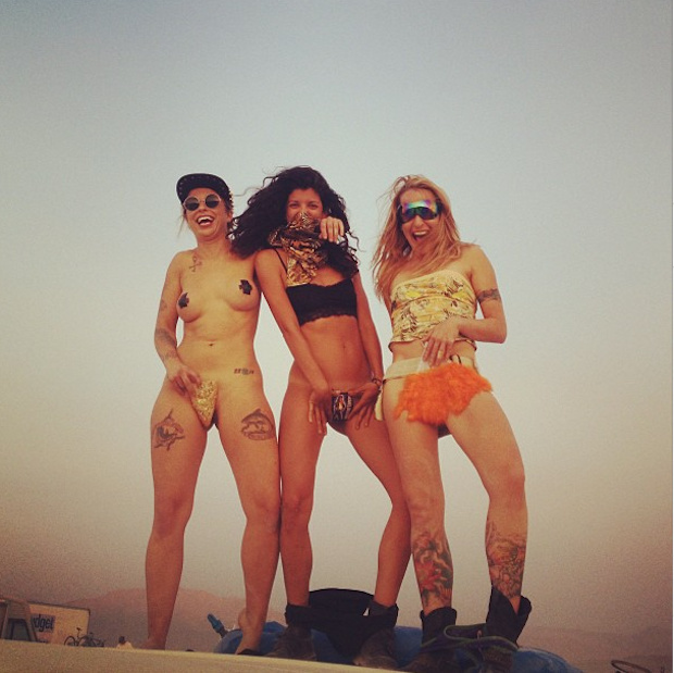 Burning man girls ass