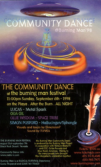Burning Man flyer advertising DJs, 1998