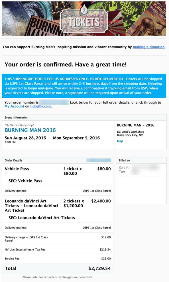 2016 vip ticket