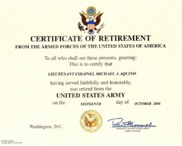 aquino retirement certificate 2006